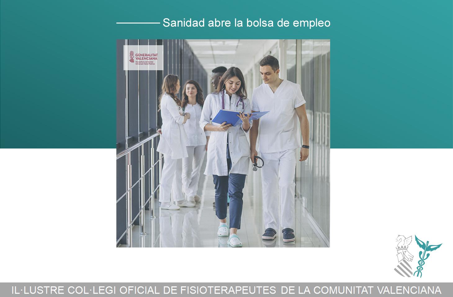 La Conselleria de Sanidad abre la Bolsa de Empleo Temporal - fisioterapeutas ICOFCV