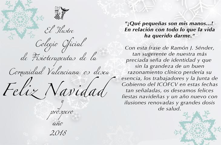 El ICOFCV os desea ¡Feliz Navidad y Próspero Año Nuevo!