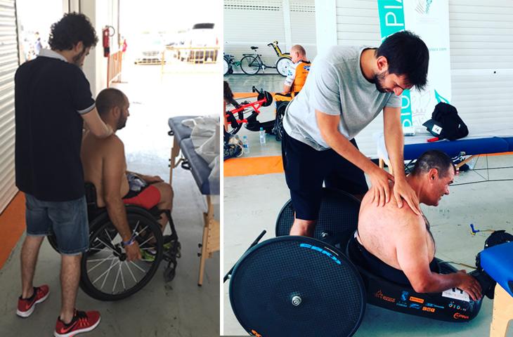 Fisioterapeutas del ICOFCV atendieron a los participantes del I Gran Premio de Valencia de Ciclismo Adaptado