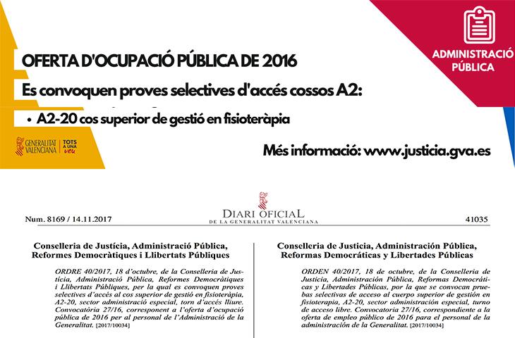 Justicia convoca la OPE 2016 para el Cuerpo Superior de Gestión en Fisioterapia A2-20