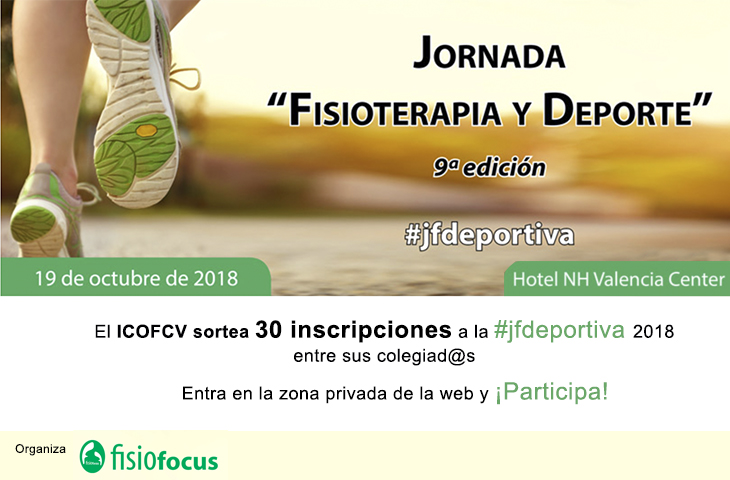 El ICOFCV sortea 30 inscripciones para la 9ª Jornada Fisioterapia y Deporte que se celebrará el 19 de octubre en Valencia