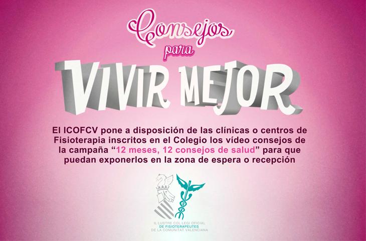 """El ICOFCV pone a disposición de las clínicas inscritas los vídeo consejos de la campaña """"12 meses, 12 consejos de salud"""""""