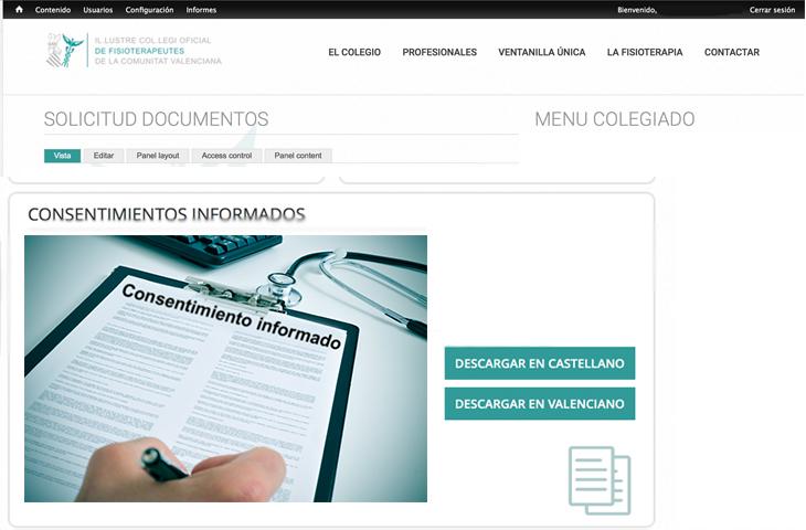 Vuelven a estar disponibles los consentimientos informados en la web Colegio Fisioterapeutas Comunidad Valenciana