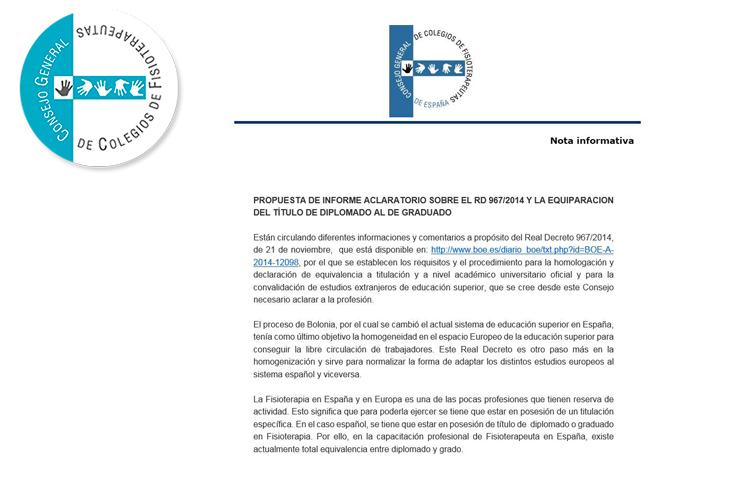 INFORME ACLARATORIO SOBRE EL RD 967/2014 Y LA EQUIPARACION DEL TÍTULO DE DIPLOMADO AL DE GRADUADO