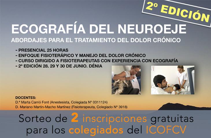"""Sorteo de 2 inscripciones gratuitas para la 2ª edición del curso """"Ecografía del Neuroeje"""" dirigido a los colegiados del ICOFCV"""