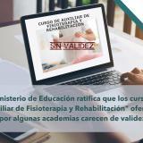 """El Ministerio de Educación ratifica que los cursos de """"Auxiliar de Fisioterapia y Rehabilitación"""" ofertados por algunas academias carecen de validez"""