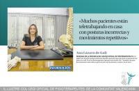 """Ana Lázaro: """"Muchos pacientes están teletrabajando en casa con posturas incorrectas y movimientos repetitivos"""""""