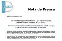 El ICOFCV nos sumamos: el CGCFE se opone frontalmente a que los servicios de Fisioterapia estén gravados al 21% de IVA