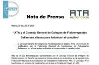 ATA y el Consejo General de Colegios de Fisioterapeutas sellan una alianza para fortalecer al colectivo
