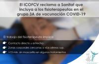 El ICOFCV reclama a Sanitat que incluya a los fisioterapeutas en el grupo 3A de vacunación Covid-19