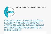 Nuevo Comunicado CGCFE: La Tarjeta Profesional Europea (TPE) ha entrado en vigor para los Fisioterapeutas el lunes 18 de enero