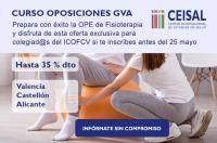 Los colegiados del ICOFCV pueden beneficiarse de hasta un 35% de descuento en el curso presencial y online de Ceisal para preparar las oposiciones de Fisioterapia