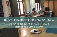 Se amplía el horario de atención a los colegiados de la sede de Valencia