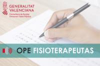 Sanitat convoca concurso-oposición para fisioterapeutas con el temario que propuso el ICOFCV