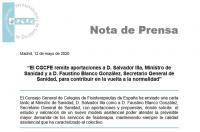 El CGCFE remite aportaciones al Ministerio de Sanidad para contribuir en la vuelta a la normalidad