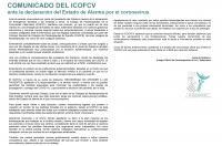 Comunicado del ICOFCV respecto al Estado de Alarma decretado por el Gobierno en relación al Covid-19